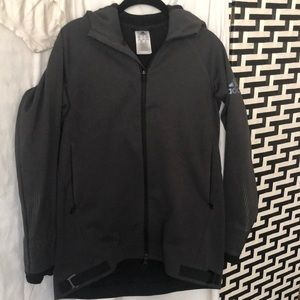 Black hooded Adidas jacket.
